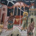 Притча о мытаре и фарисее; Балканы. Сербия. Печь; XIV в.