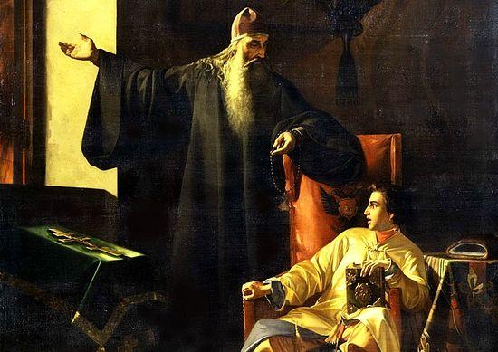 Павел Плешанов. Царь Иоанн Грозный и иерей Сильвестр во время большого московского пожара 24 июня 1547 года