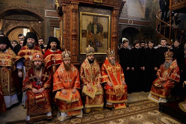 Архиепископ Амвросий принял участие в Патриаршей службе и архиерейской хиротонии в Сретенском монастыре г. Москвы