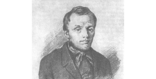 Достоевский в 26 лет, рисунок К. Трутовского, итальянский карандаш, бумага, (1847), (ГЛМ). Самый ранний портрет Достоевского