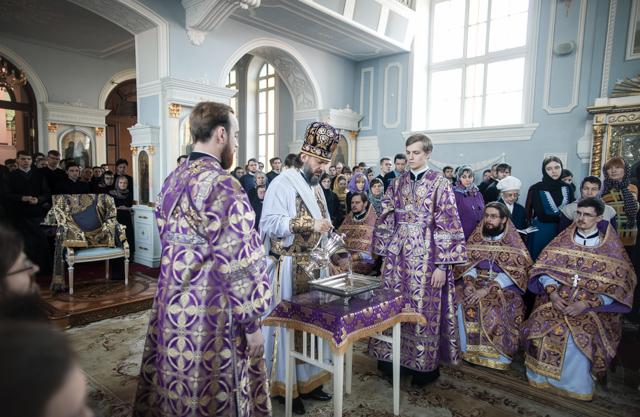 Вся большая академическая семья приступила к Святому причащению в день установления Таинства Евхаристии